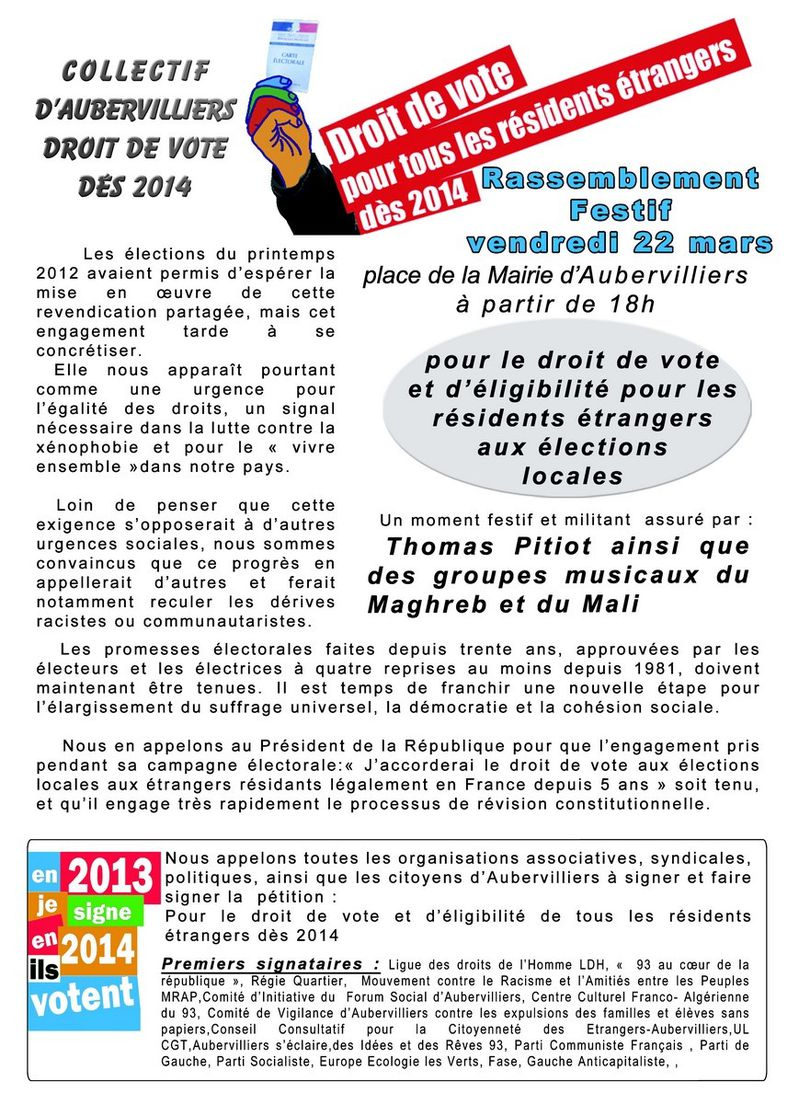 aubervilliers le 22 mars 2013 pour le droit de vote des trangers rep res contre le racisme. Black Bedroom Furniture Sets. Home Design Ideas