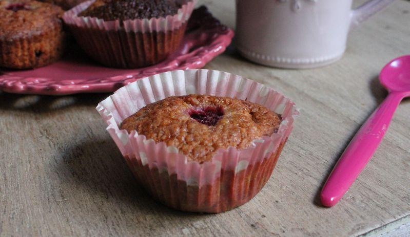 Muffins framboises, chocolat blanc, noix de coco