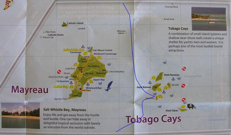 Carte Grenadines Mayreau Tobago Cays 1