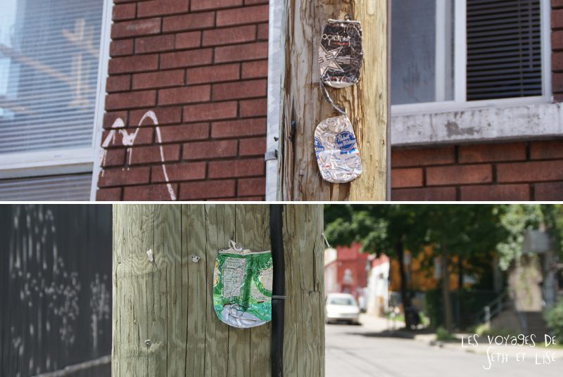 blog voyage canada montreal pvt photo insolite flyer affiche drole message streetart art canette can coke stapled