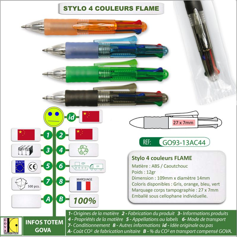 Stylo-4-Couleurs FLAME ref GO93 13A avec marquage