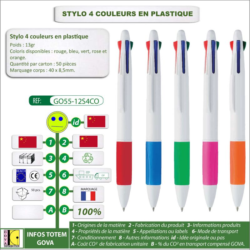 Stylo-4-Couleurs GO55 12S4CO