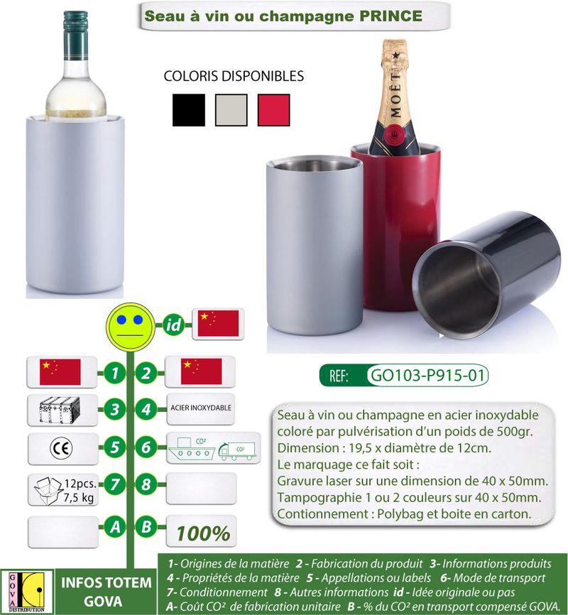 Seau à vin ou champagne PRINCE en acier inoxydable avec im