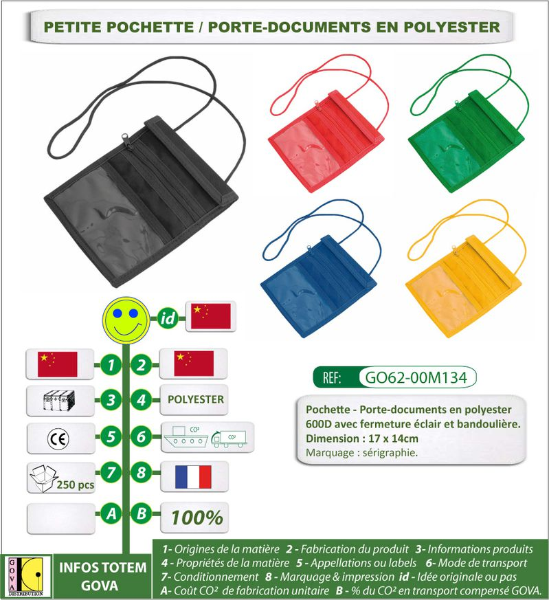 Petit porte documents en Polyester ref GO62 00M134