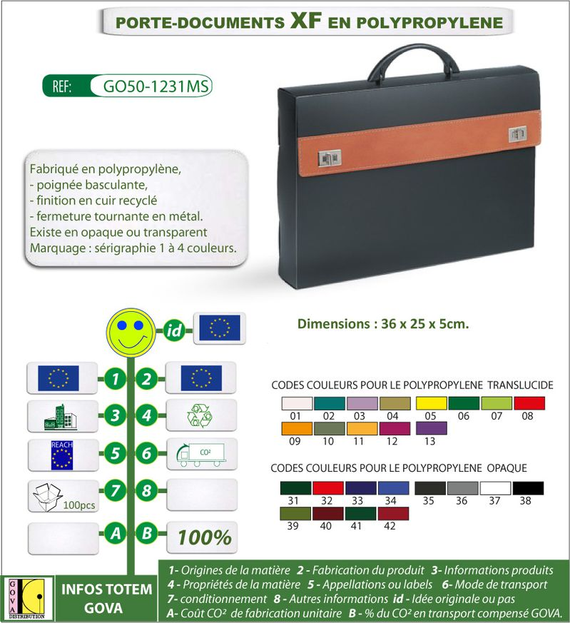 Porte document XF en polypro ref GO50 1231MS