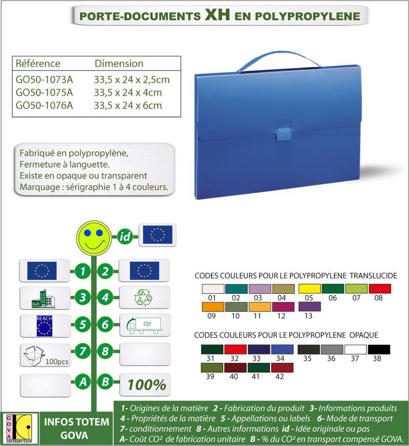 Porte document XH en polypro ref GO50 1073A