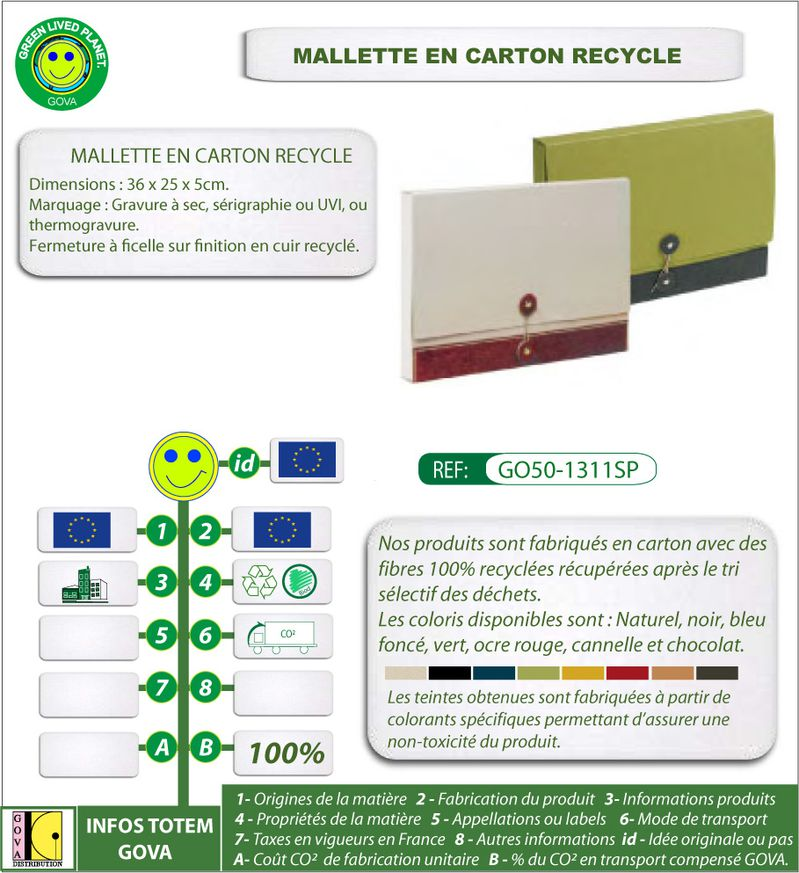 Porte document en carton ref GO50 1311SP