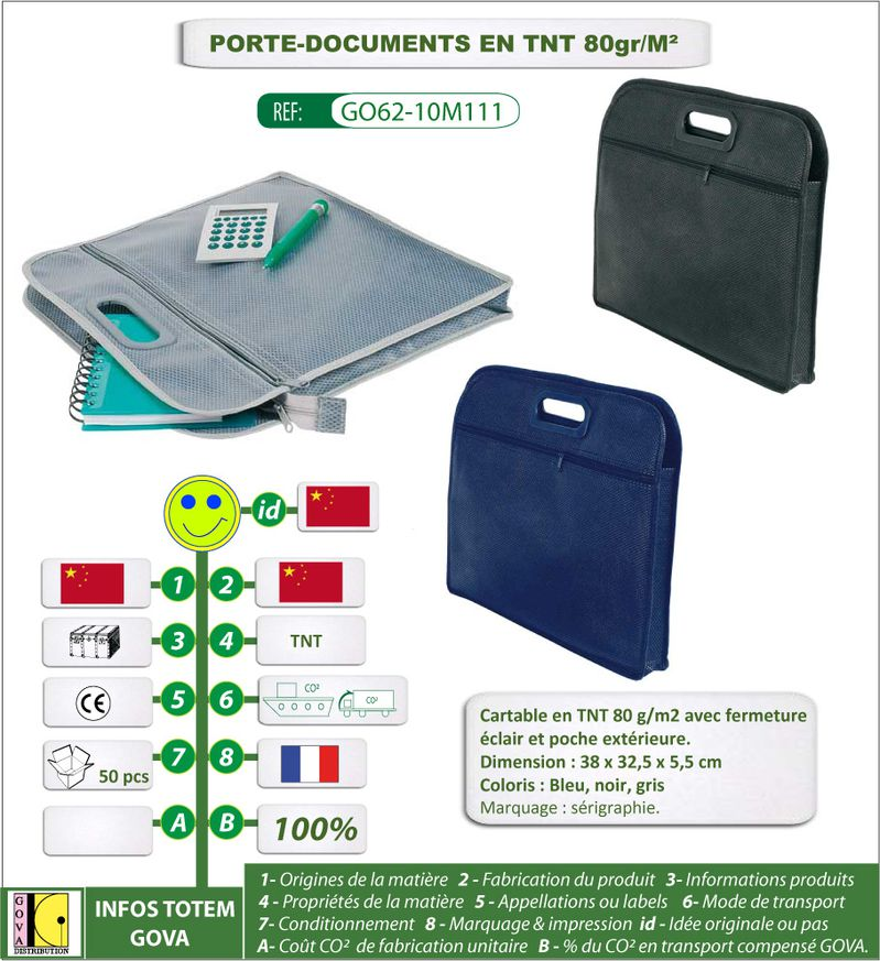 Porte documents en TNT 80gr ref GO62 10M110