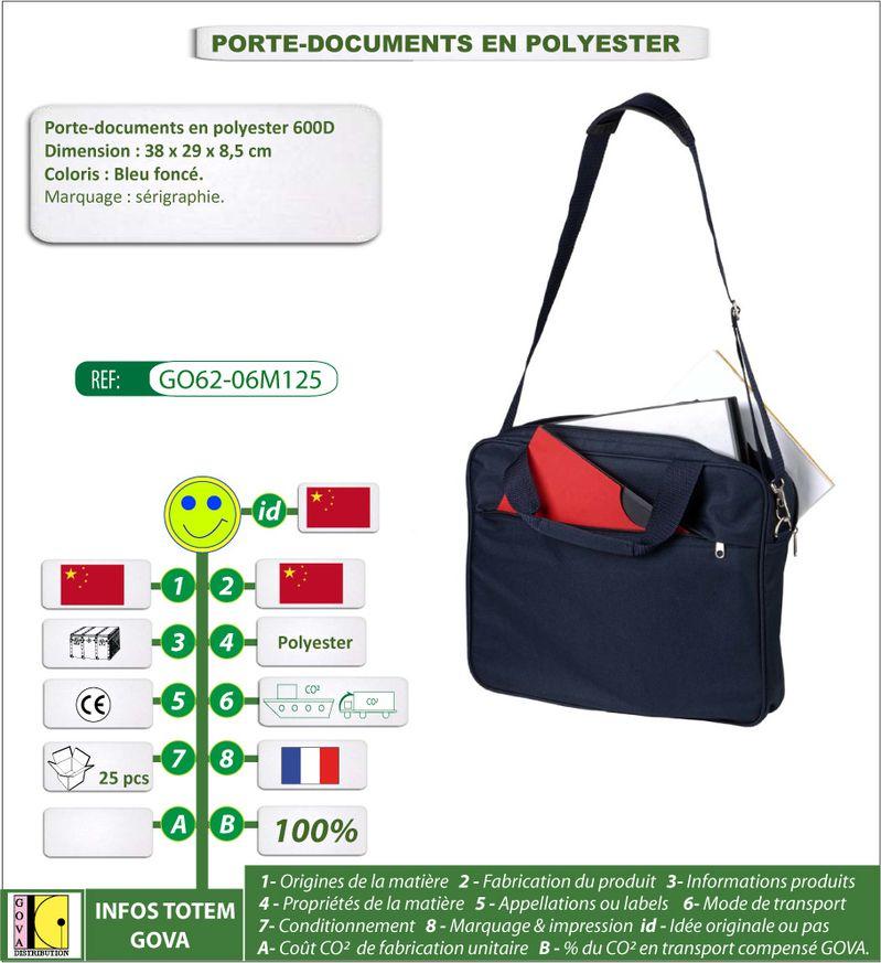 Porte documents en polyester-600D avec poches ref GO62 06M1