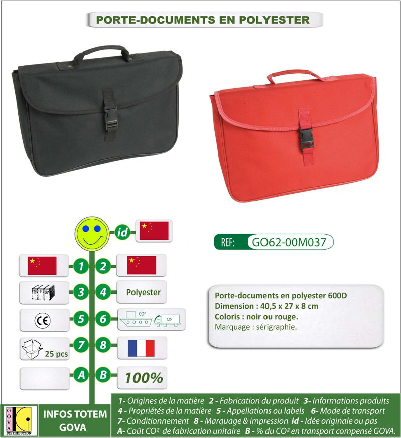 Porte documents en polyester-600D ref GO62 00M037