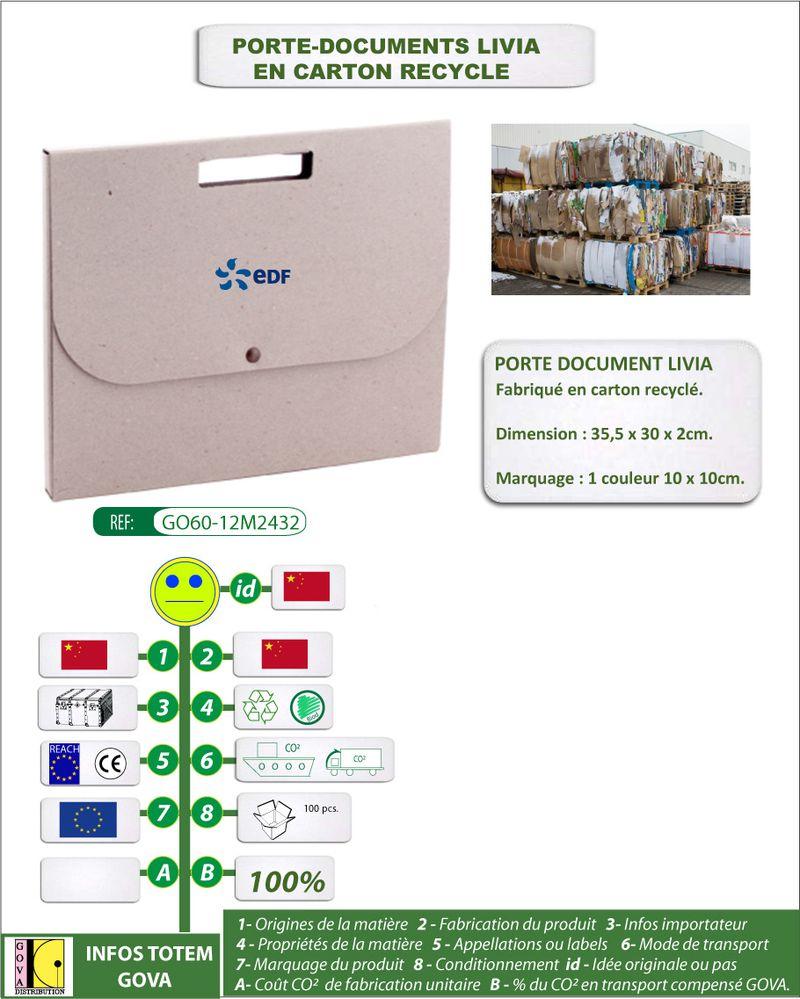 Porte document en carton recycle ref GO60 12M2432