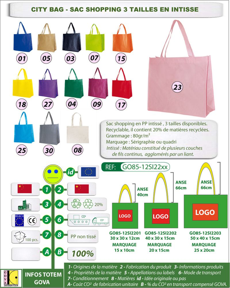 Sac shopping intisse citybag 3 tailles