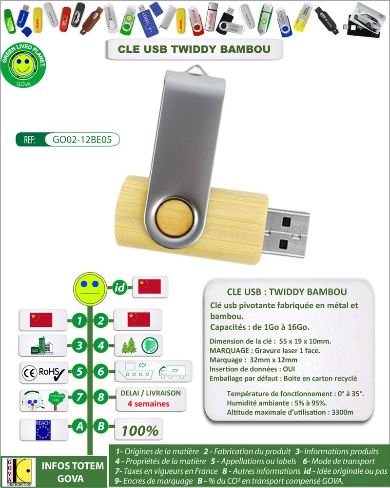 Cle usb pivotante bambou ref twiddy bambou