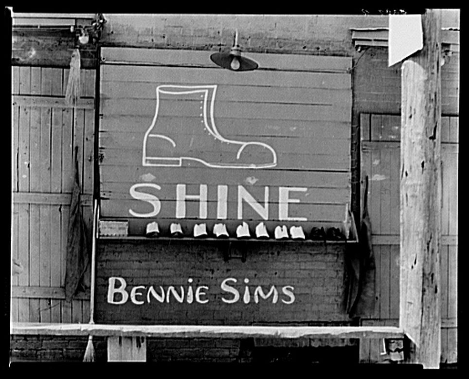 Shoeshine stand detail, Southeastern U.S. by Walker Evans
