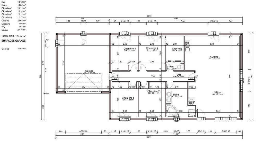 Plan de la maison le lodge de seysses for Articles pour la maison
