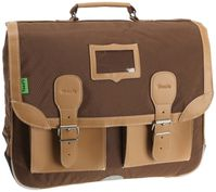tann's cartable 2 poches classic natural coton cuir chocola