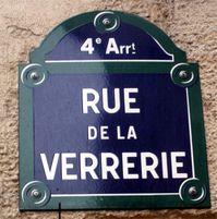Plaque de la rue de la Verrerie
