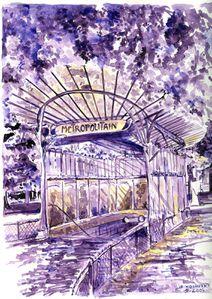 Metro.-Porte-Dauphine-aquarelle-violette.jpg