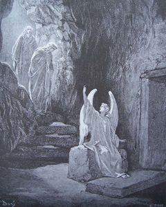 gravure dore bible - l ange et les saintes femmes
