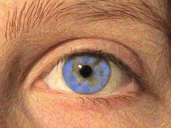 Oeil crayon couleur bleu