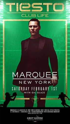 Tiësto date Marquee - New York, NY 01 february 2014