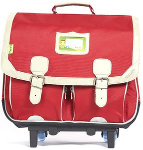 tann's cartable 2 poches classic nylon rouge trolley