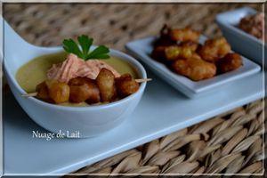 velouté de maïs brochette de beignets maïs crème de poivron rouge