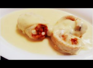 lenguado relleno de pisto con salsa de queso light