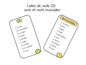 listes mots CE1
