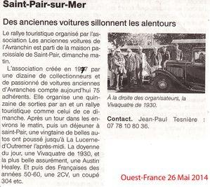 Ouest France 26 Mai 2014