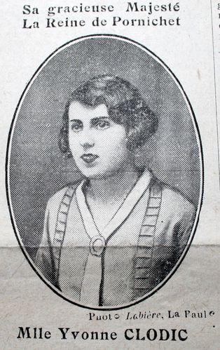 Miss Pornichet Yvonne Clodic Journal la Mouette 1930 portr