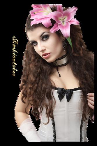 femme visage corset blanc fleur lys