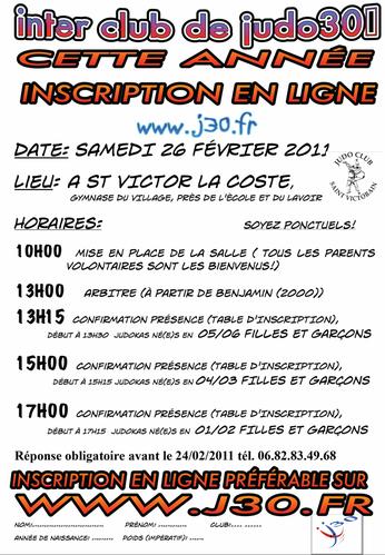 horaire interclub St victor 2011