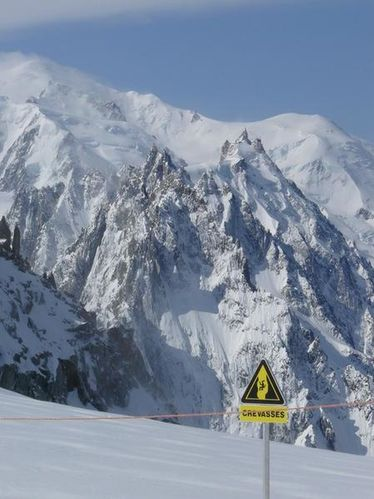 Grands Montets Mont Blanc crevasse
