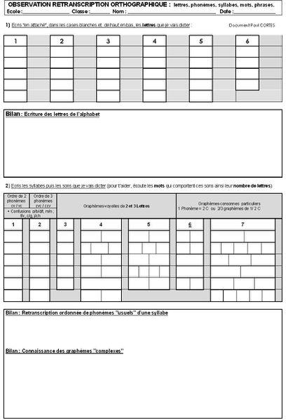 bilan orthographe (grille vide)