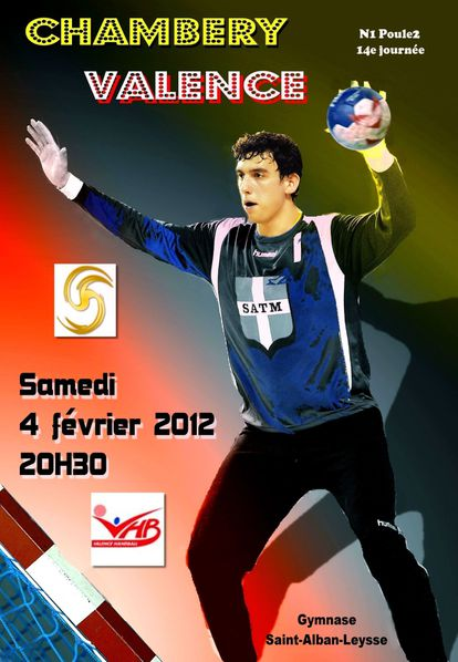Affiche N1 CHAMBERY VALENCE 04 02 2012 NB. + texte