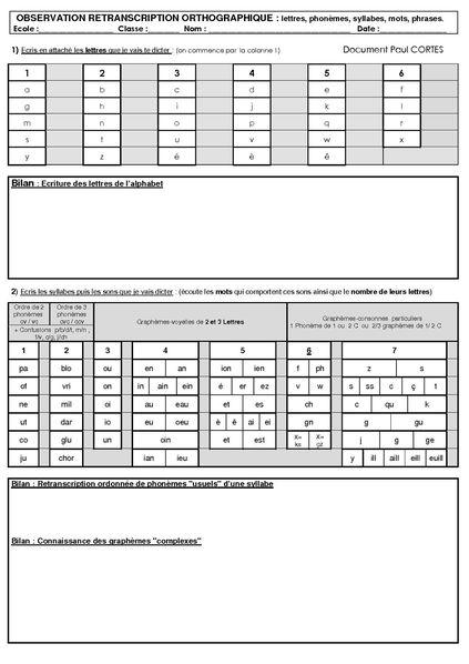 bilan orthographe passation