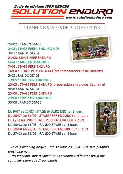 planing 2013 stages