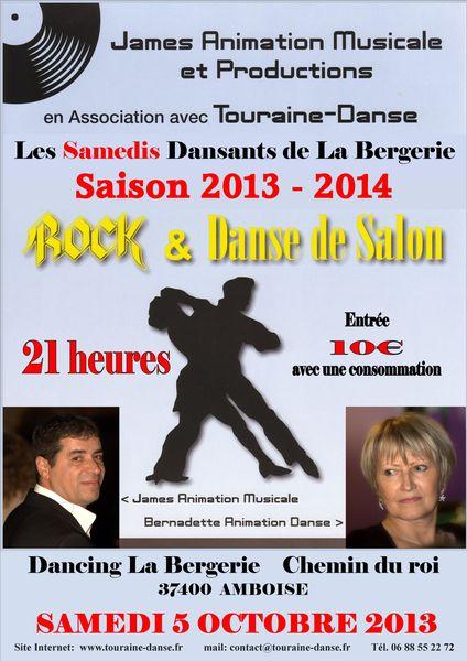 SAMEDI 5 OCTOBRE 2013 TOURAINE DANSE AU DANCING LA BERGERIE
