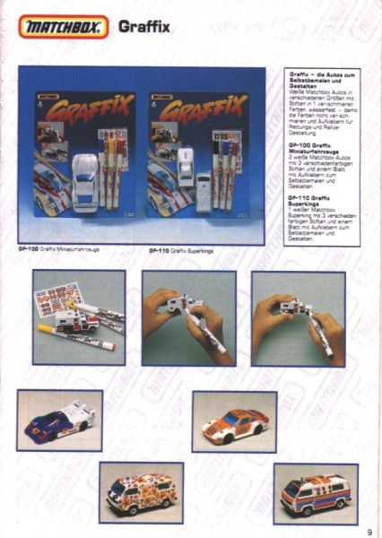 catalogue matchbox 1991 m09 graffix matchbox