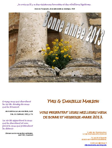 VOEUX 2013 Yves & Danielle CE Domme
