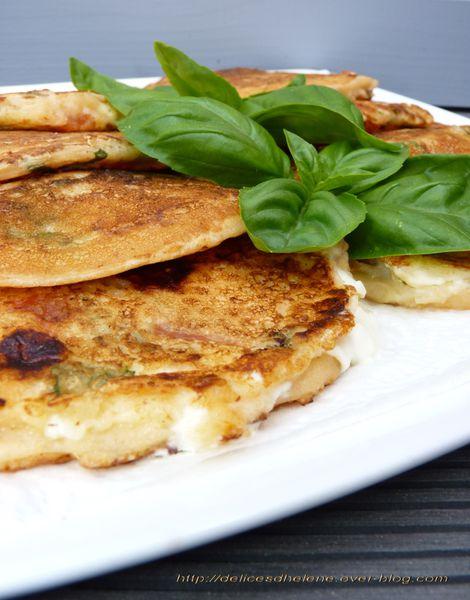 pancakes tomates-feta-basilic