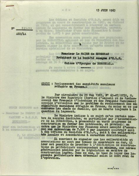 4-Lettre du sous-préfet au président SA -HLM ( 13-06-1963)
