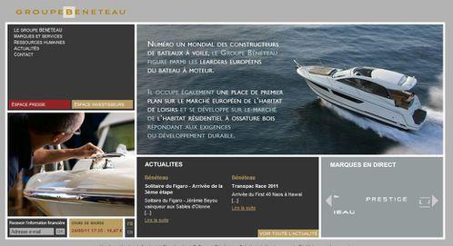 page d accueil du site corporate du groupe Beneteau