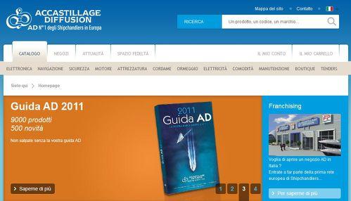 page d accueil du site italien de la societe Accastillage-Diffusion
