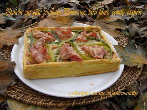 Quiche sur pâte feuilletée Poireaux, lard fumé, comté, oignon Jaclyne cuisine et gourmandise