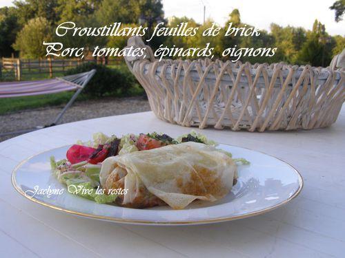 Croustillants feuilles de brick 1 tranche de porc dans l'échine, épinards, tomates, oignons. Dans la rubrique Vive les Restes Jaclyne cuisine et gourmandise