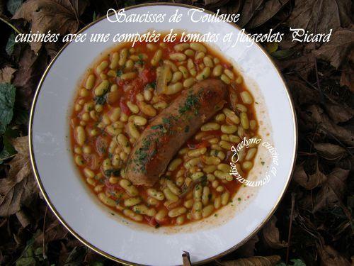 Saucisses de Toulouse cuisinées avec une compotée de tomates et flageolets Picard Jaclyne cuisine et gourmandise