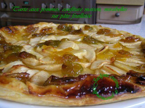 Tarte aux pommes à la confiture maison aux mirabelles sur pâte feuilletée Jaclyne cuisine et gourmandise
