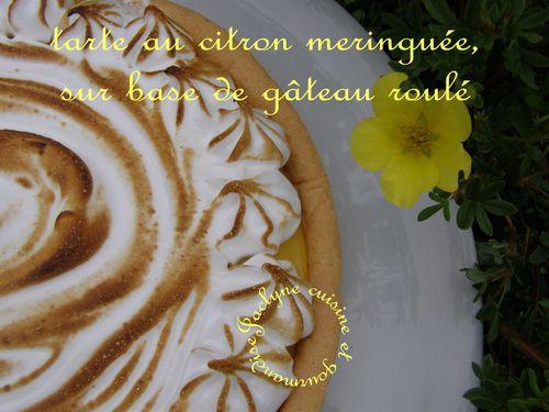 Tarte au citron meringuée sur base de gâteau roulé ♥ Fondant en bouche, vous allez l'adorer ♥ Jaclyne cuisine et gourmandise